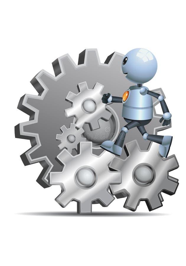 Peu de robot fonctionnant sur des vitesses illustration de vecteur