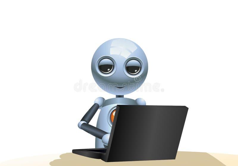 Peu de robot jouant l'ordinateur sur le fond blanc d'isolement illustration de vecteur