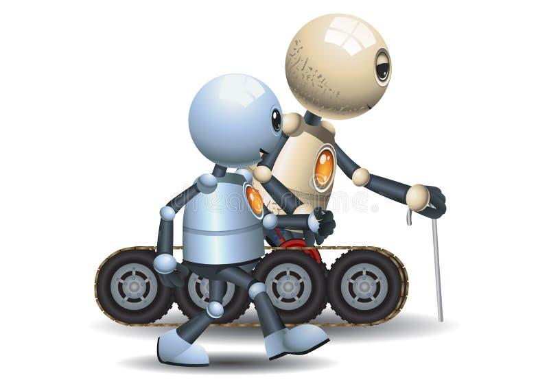Peu de robot marchant avec lui père grand illustration libre de droits
