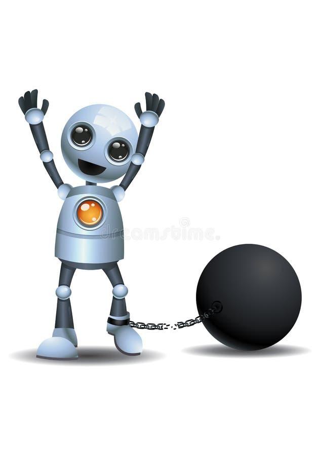 Peu de robot s'échappant de la prison illustration libre de droits