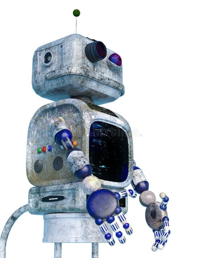 Peu de robot de saleté à un arrière-plan blanc illustration libre de droits