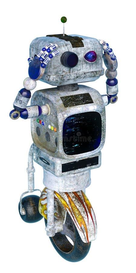 Peu de robot de saleté à un arrière-plan blanc illustration stock