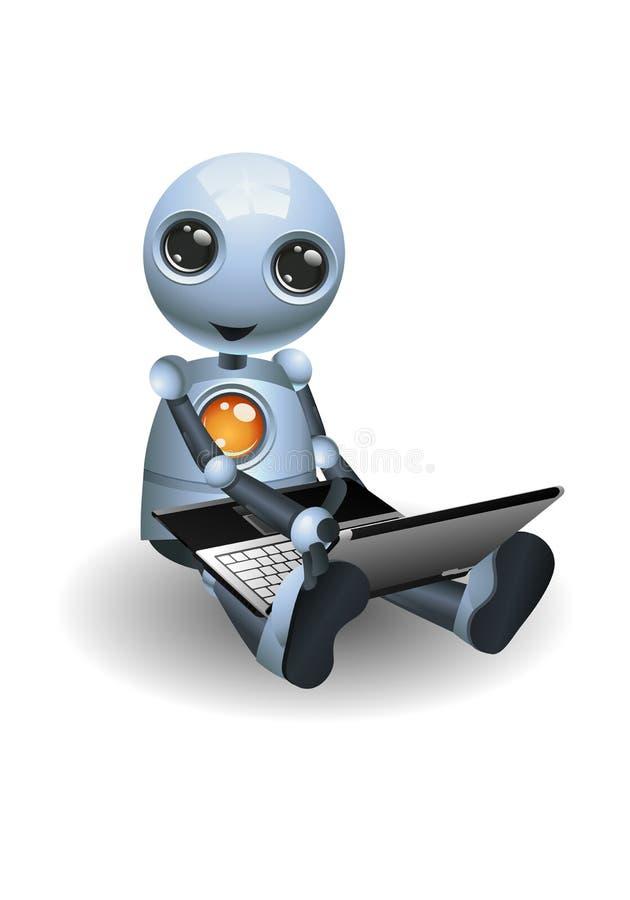 peu de robot se reposer sur utiliser l'ordinateur portable illustration stock