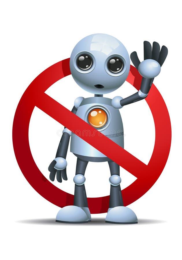 Peu de robot sur l'aucun écrivent le signe illustration libre de droits