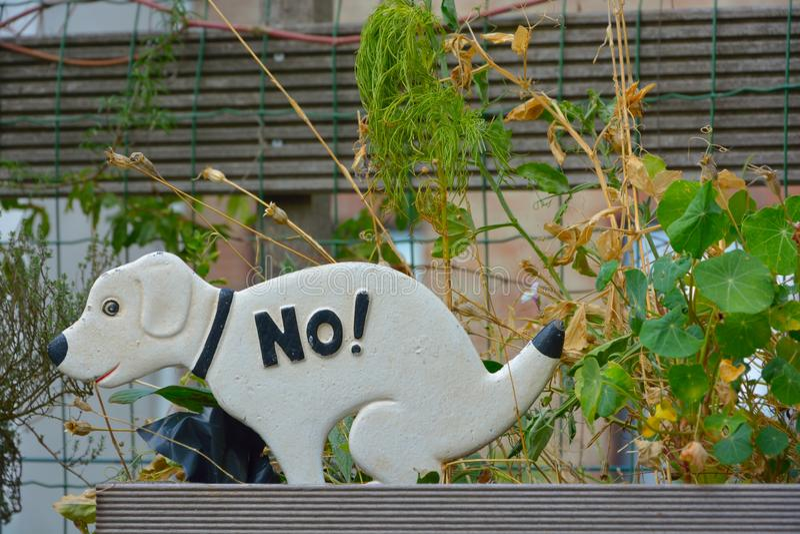 Peu de statue d'un chien blanc indiquant non images libres de droits