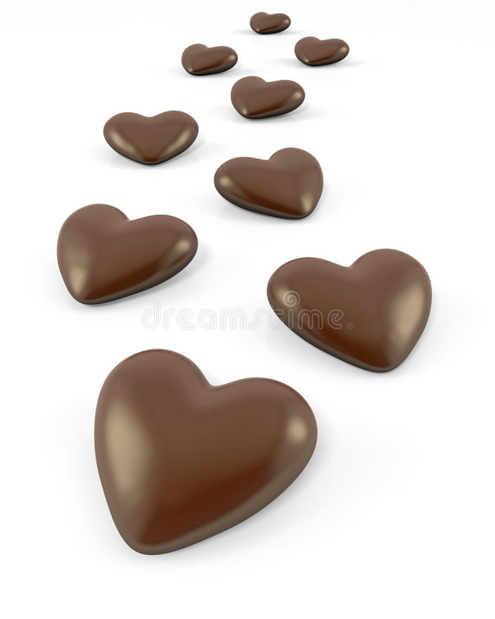 Peu de sucreries de chocolat en forme de coeur illustration libre de droits