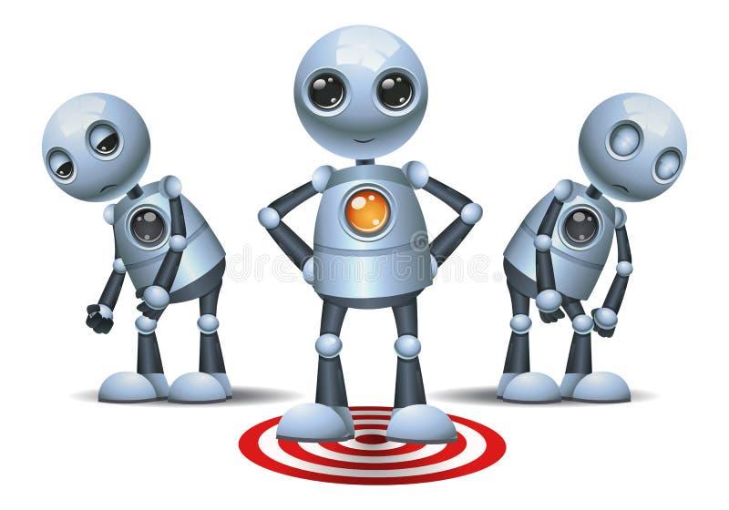 Peu de support de robot sur le symbole de cible illustration de vecteur