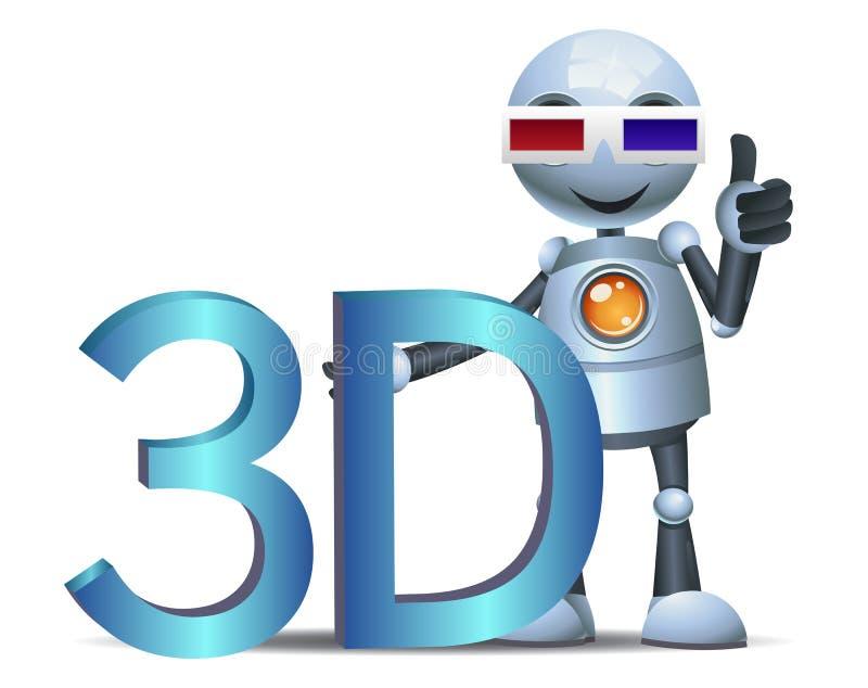 Peu de symbole de film de la prise 3d de robot illustration de vecteur