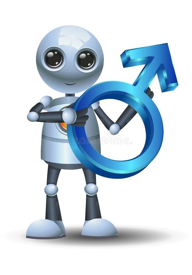 Peu de symbole de mâle de prise de robot illustration stock