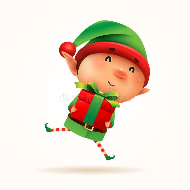 Peu elfe avec le présent de cadeau D'isolement illustration de vecteur