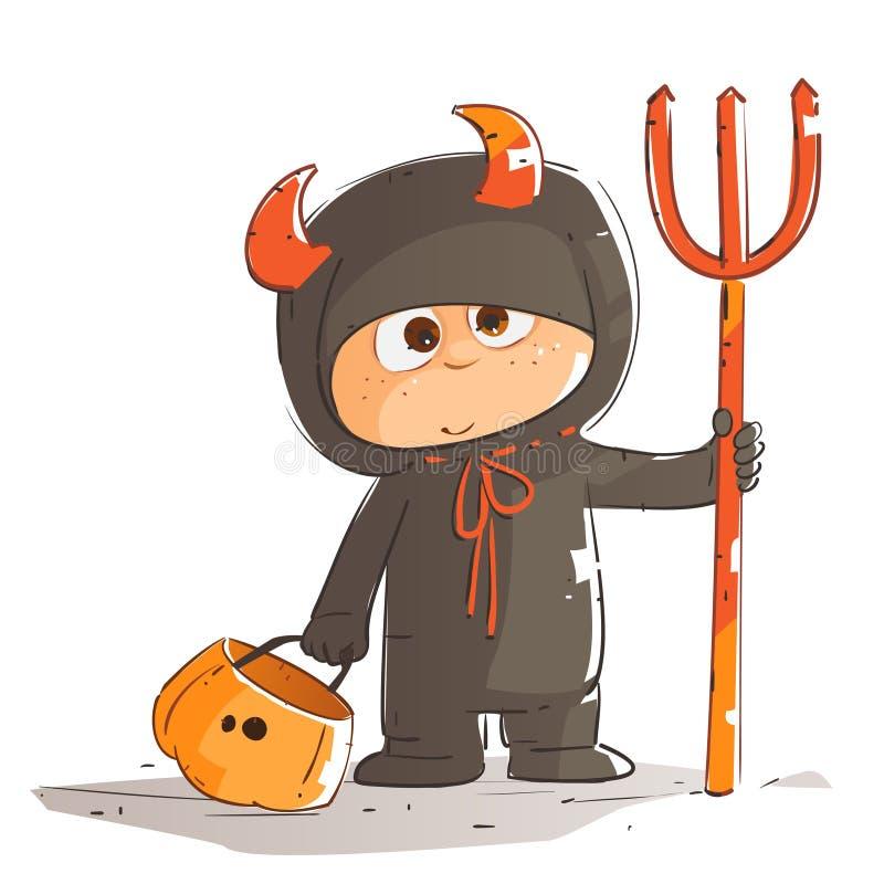 Peu enfant dans le costume de Halloween illustration libre de droits