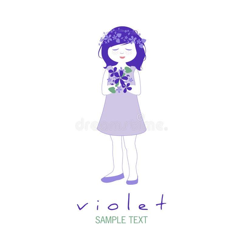 Peu fille avec des guirlandes des fleurs dans ses cheveux tenant un bouquet des violettes sauvages illustration libre de droits