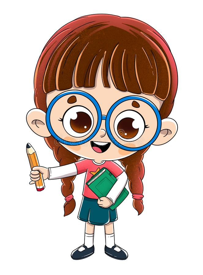Peu fille avec un livre et un crayon illustration de vecteur
