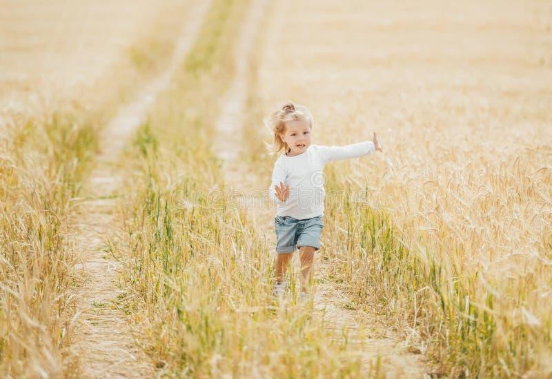 Peu fille courant dans le domaine de blé dans le jour ensoleillé photos stock