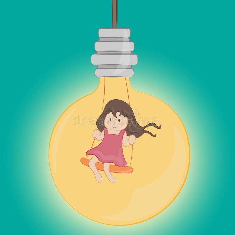 Peu fille dans l'ampoule illustration libre de droits