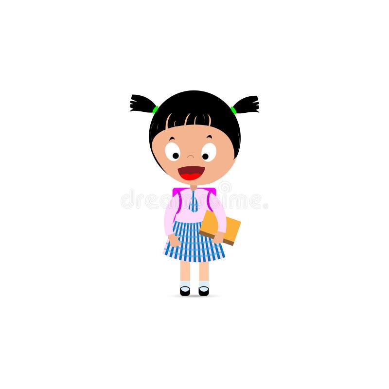 Peu fille dans l'uniforme scolaire, le sac ? dos et le livre ? disposition illustration de vecteur