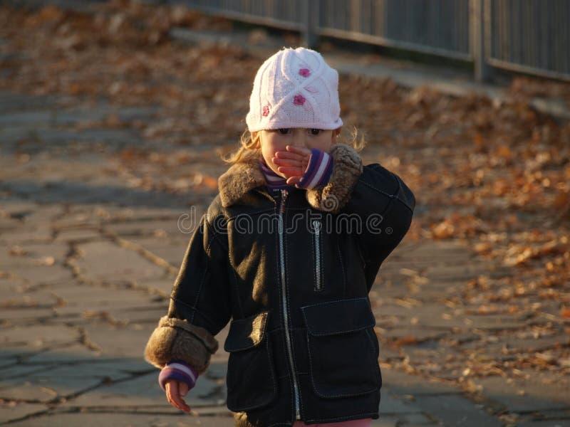 Peu fille en parc de ville parmi les feuilles jaunes tombées image stock