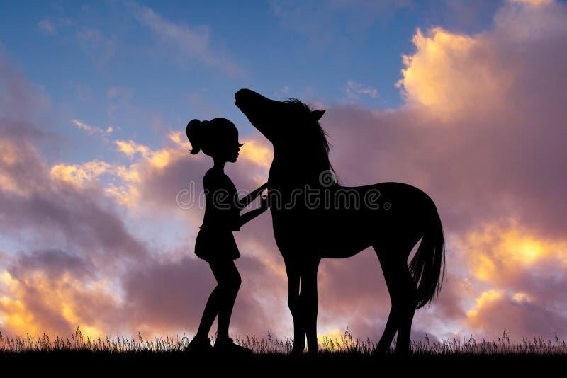 Peu fille et cheval au coucher du soleil illustration libre de droits