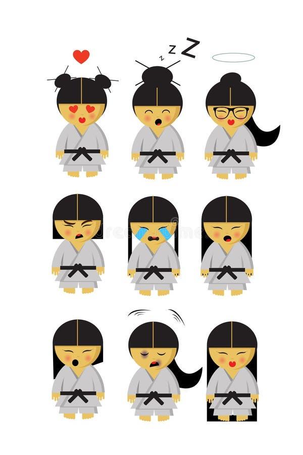 Peu fille japonaise de karaté dans le kimono et neuf émotions illustration libre de droits