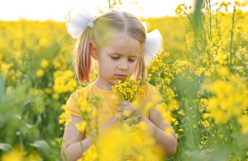 Peu fille romantique dans un domaine avec les fleurs jaunes photographie stock
