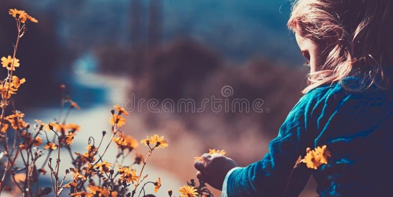 Peu garçon appréciant des wildflowers images stock