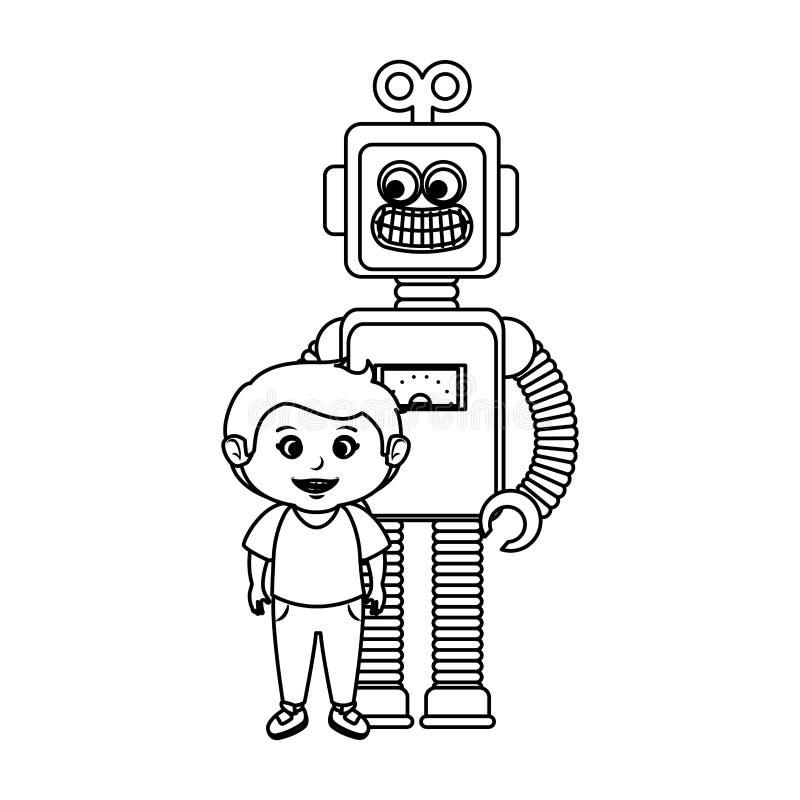 Peu garçon avec le jouet de robot illustration libre de droits