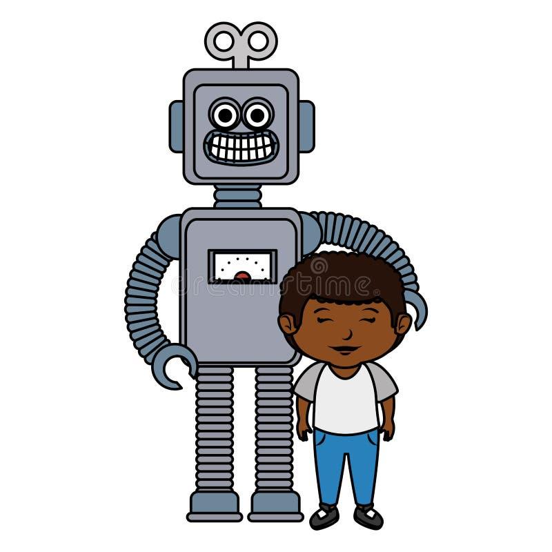 Peu garçon avec le jouet de robot illustration de vecteur