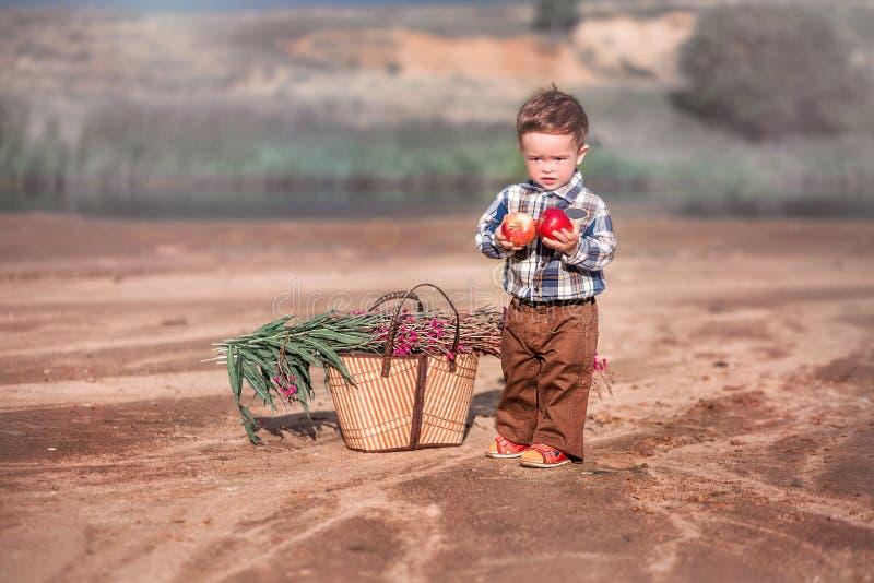 Peu garçon avec un panier des fleurs et d'une pomme photos libres de droits