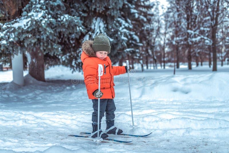 Peu garçon est 3-4 années, hiver sur les skis des enfants, les skis de premières étapes, image active des enfants Neige de fond images stock