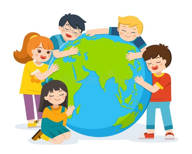 Peu garçon et fille mignons étreignent la terre de planète au-dessus d'un fond blanc illustration de vecteur