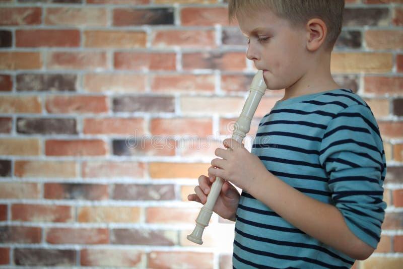 Peu garçon jouant la cannelure à la maison photographie stock libre de droits
