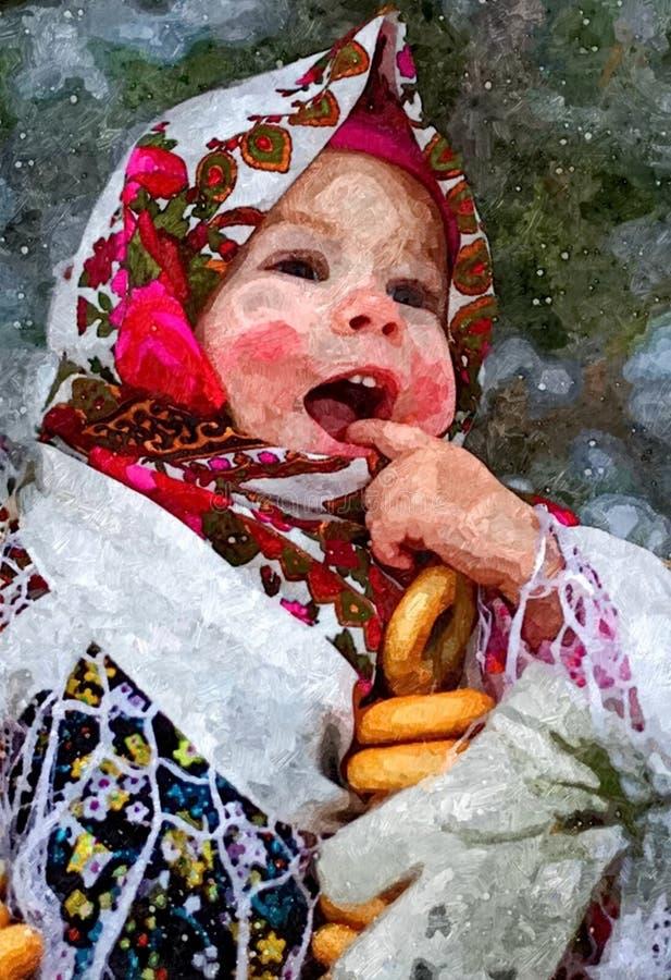 Peu jeune fille attrayante-cheeked de neige Portrait Aquarelle humide de peinture sur le papier Art naïf Aquarelle de dessin sur  illustration libre de droits