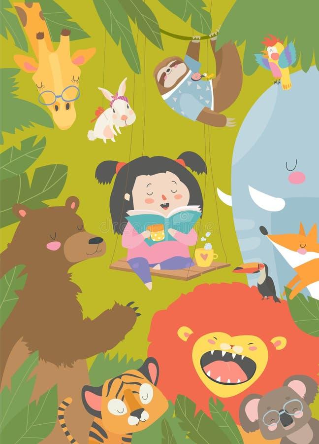 Peu livre de lecture de fille avec l'animal de bande dessinée Lion, tigre, girafe, fente illustration libre de droits