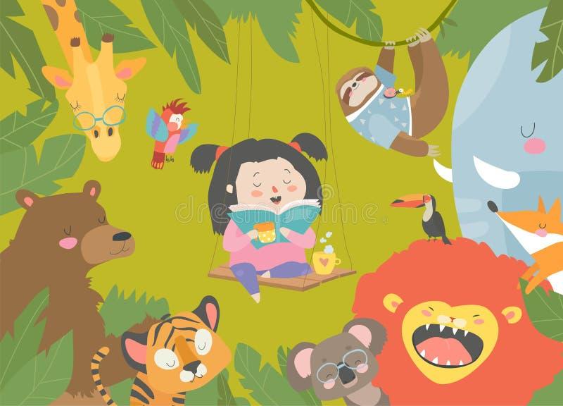 Peu livre de lecture de fille avec l'animal de bande dessin?e Lion, tigre, girafe, fente illustration stock