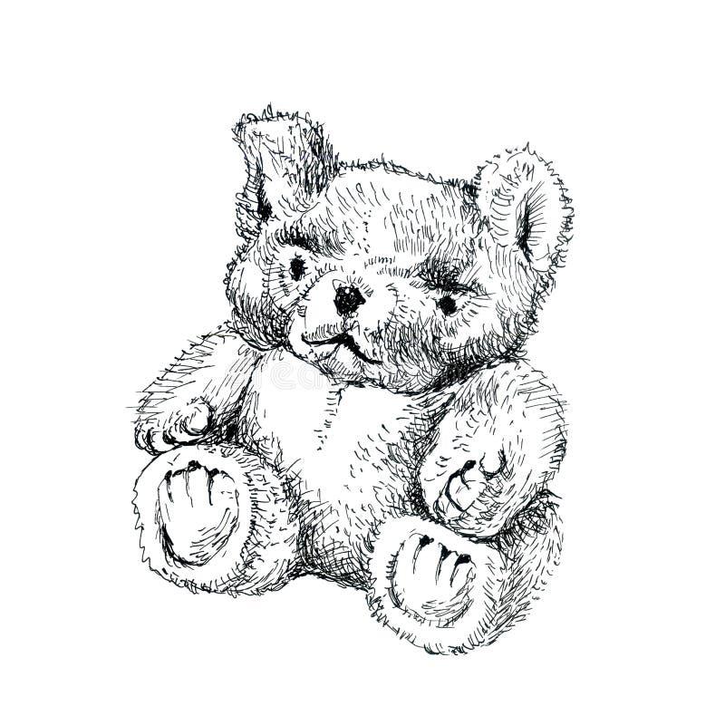 Peu ours de nounours velu Dessin d'encre illustration stock