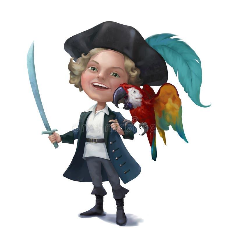 Peu pirate avec un perroquet illustration libre de droits