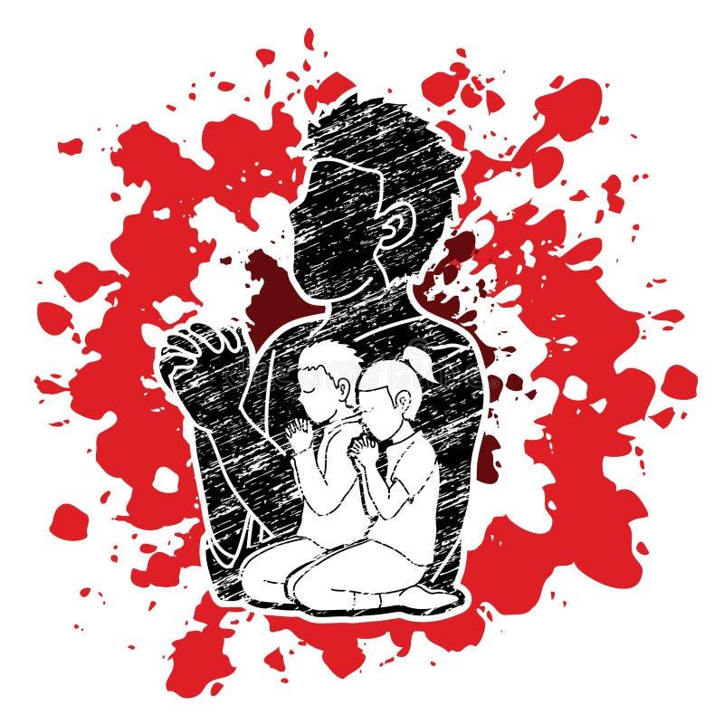 Peu prière de garçon et de fille, éloge au seigneur illustration libre de droits