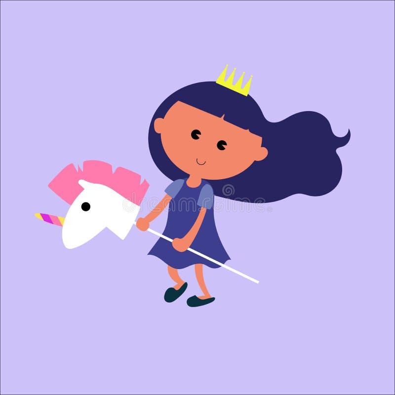 Peu princesse de sourire avec l'illustration mignonne de vecteur de bande dessinée de jouet de licorne illustration stock