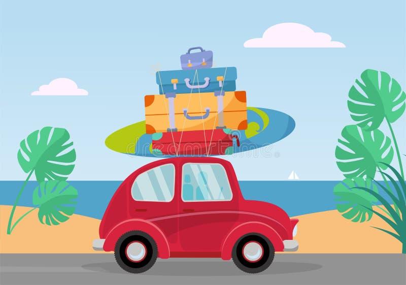 Peu rétros tours rouges de voiture de la mer avec la pile de valises sur le toit Illustration plate de vecteur de bande dessin?e  illustration libre de droits