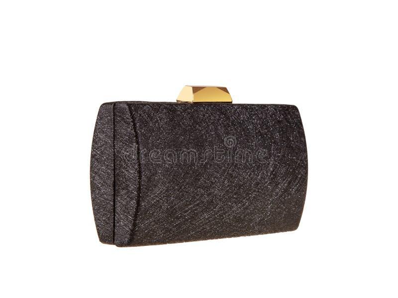 Peu sac à main noir de bourse de mode avec un fermoir d'or photographie stock