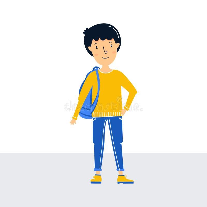 Peu voyageur de garçon-le tient un sac à dos Préparez pour voyager jeune homme de l'adolescence roux Attente dans la ligne à l'aé illustration libre de droits