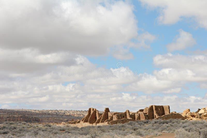 Peublo Bonito. Ruin of Pueblo Bonito great house, Chaco Culture National Historical Park, New Mexico, USA royalty free stock photography