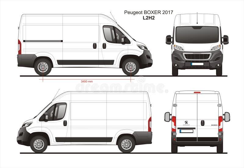 Peugeot σχεδιάγραμμα φορτηγών παράδοσης φορτίου μπόξερ 2017 L2H2 διανυσματική απεικόνιση