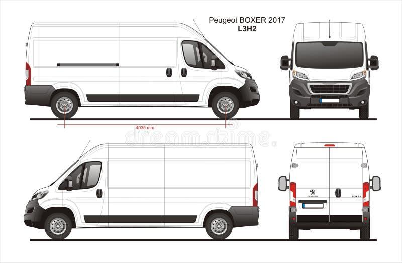 Peugeot boksera ładunku Doręczeniowego Van 2017 L3H2 projekt royalty ilustracja
