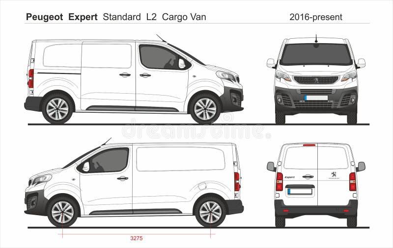 Peugeot Expert Cargo Standard Van L2 2016 presente illustrazione di stock