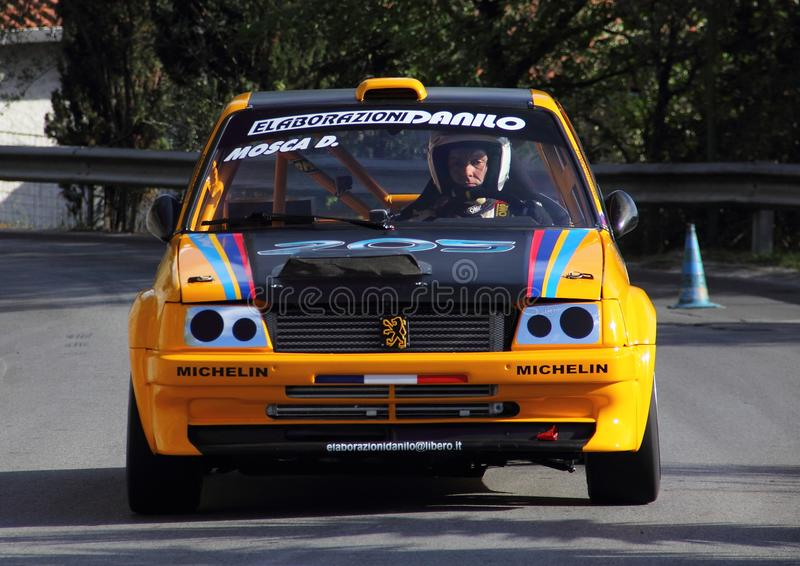 Peugeot 205 Gti racing car. During the uphill race Chiavari t 106 rallyLeivi edition 2017 royalty free stock images