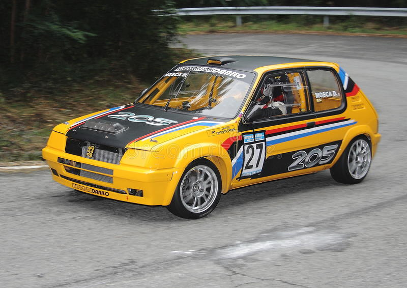 Peugeot 205 Gti. During the speed ' ride Praglia ascent stock photo
