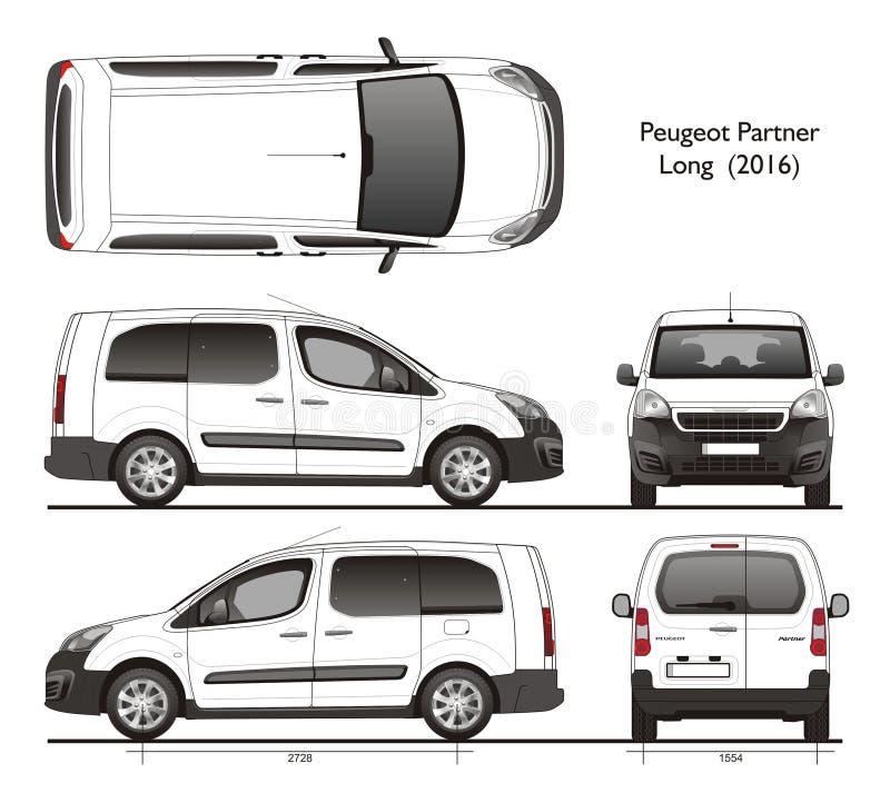 Peugeot partner Tęsk 2016 Fachowych Van ilustracji