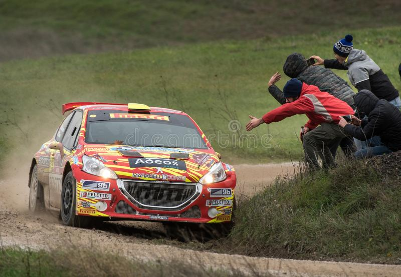 Peugeot 208 R5 rally car on race royalty free stock photo