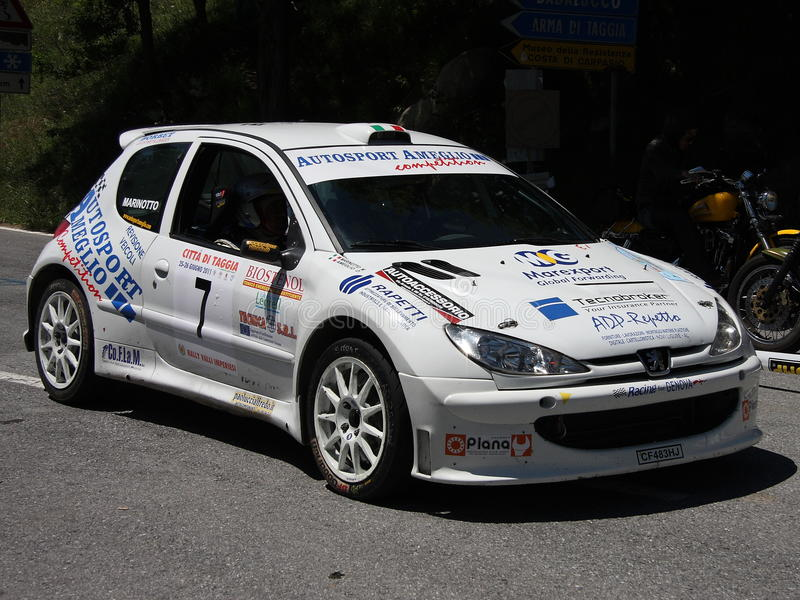 Peugeot 206 super 1600 rally car. During Imperiesi rally of 2011 stock photography